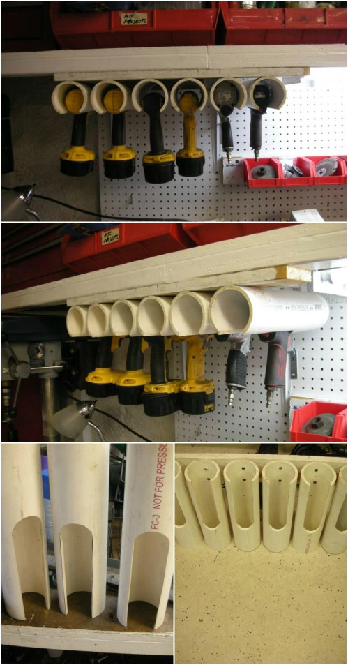 DIY Cordless Power Tool Storage Idea using PVC Pipe