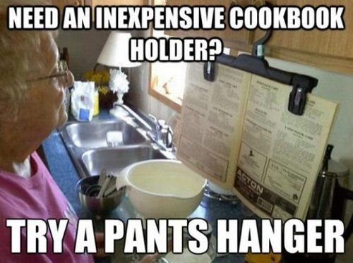cookbook holder using a pants hanger