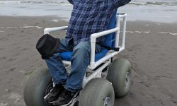 enjoying the beach wheelchair