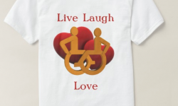 t-shirt with hearts, wheelchairs and text