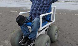 enjoying the beach wheelchair